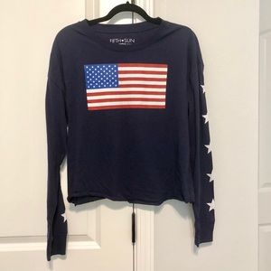 Fifth Sun American long sleeve crop top size small